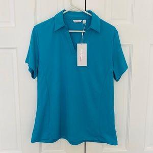 Lady Hagen Blue/Green Tech V neck Golf Polo